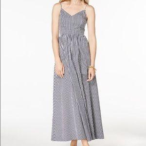 Maison Jules Navy Blue Gingham Maxi Dress